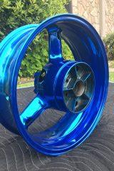 #201 Candy Blue over Chrome - Moto Rim